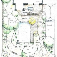 Gartenplanung: Badeteich mit Holzdeck. Terrasse mit Naturstein-Platten