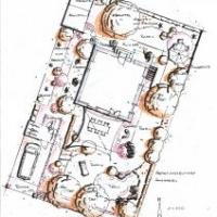 Gartenplanung: Carport und Fahrradschuppen. Gartenteich. Wege und Einfahrt aus Pflaster-Klinker-Pflaster