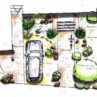 Gartenplanung: Gestaltungsentwurf Vorgarten Stellplatz Kiesgarten