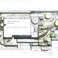 Gartenplanung: Gartenplan Hanggarten mit Trockenmauern, Bachlauf, Wasserfall und Gartenteiche