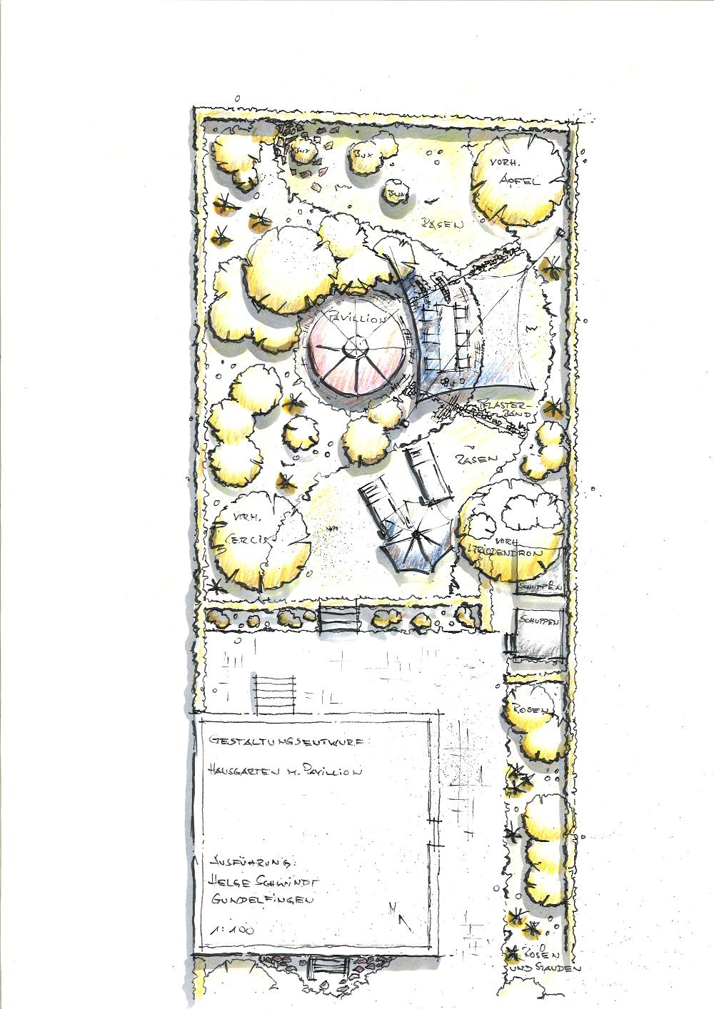 Gartenplanung: Wohngarten mit Pavillon von Hainbuchen-Hecken gerahmt
