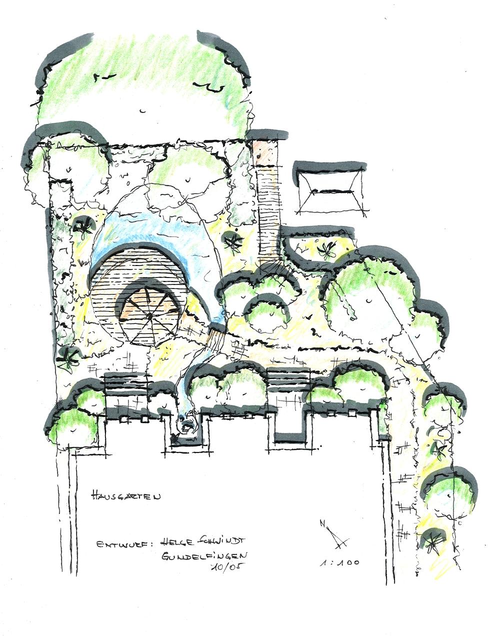 Gartenplanung: Bauerngarten Rosengarten Holzterrasse Gartenteich Wege Natursteinpflaster