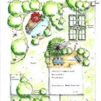 Gartenplanung: Holzterrasse und kleiner Teich mit Sitzplatz. Kräutergarten mit Buchseinfassung