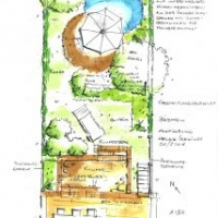Gartenplanung: Reihenhausgarten mit Tiefterrasse aus Pflaster-Klinker. Sitzplatz am Gartenteich