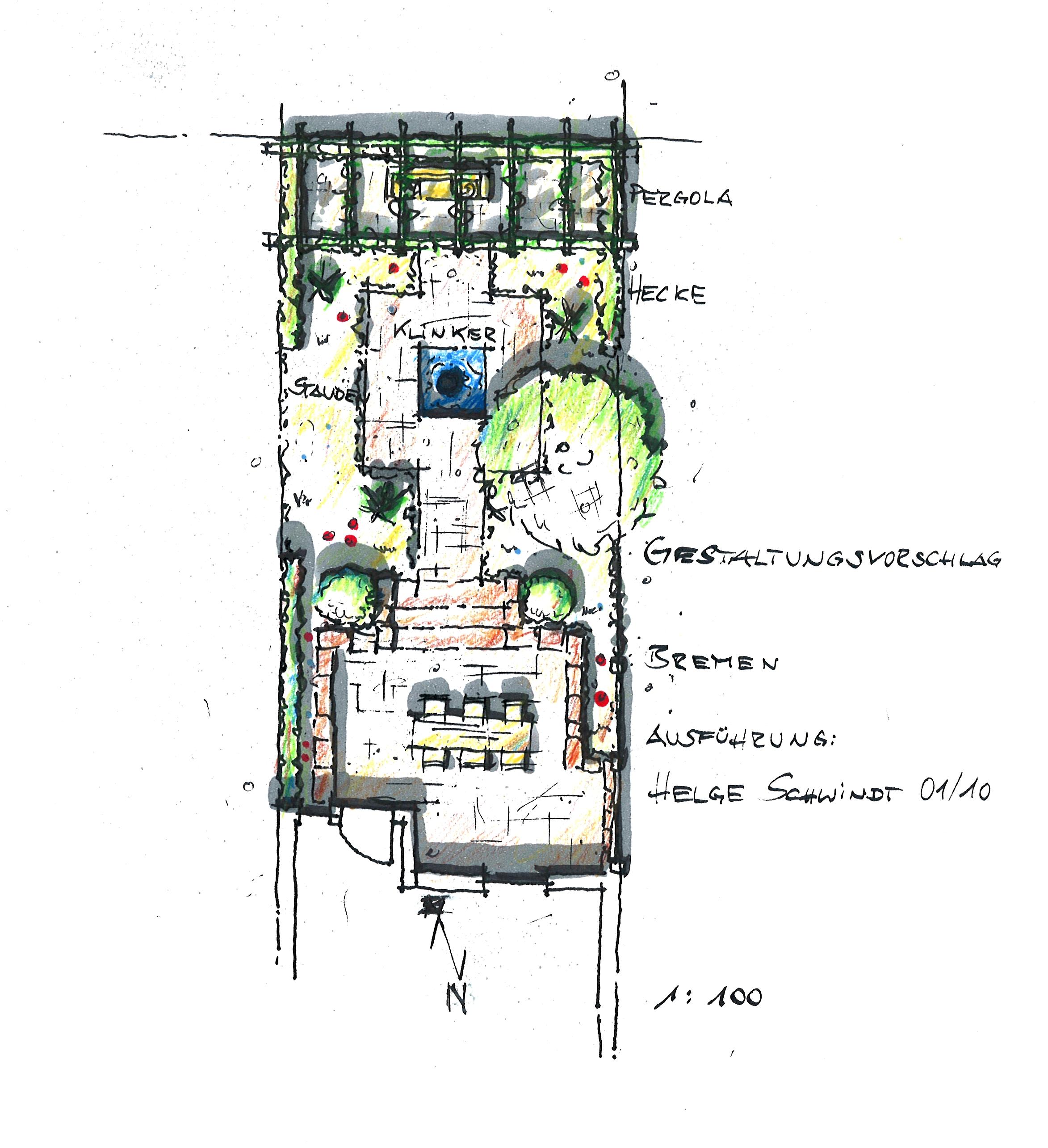 Gartenplanung: Reihenhaus-Garten mit Pergola. Tiefterrasse, Treppe und Weg aus Klinker-Pflaster