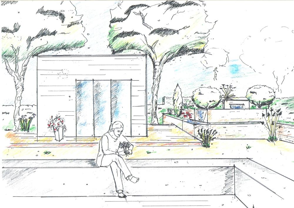 Gartenplanung: Holzterrassen für die Morgen- und Abendsonne. Pflanzterrassen aus Corten-Stahl mit Wasserbecken und Wasserfall