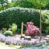 Wassergarten, Japangarten: japanischer Gartenbrunnen Tetsu Bachi