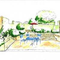 Gartenplanung: Blick von der Tiefterrasse in den Reihenhausgarten. Eibenhecken als Raumteiler