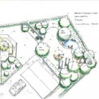 Gartenplanung: Spielgarten Rasen Hecke Wohngarten Gartenteich. Einfahrt, Hof Wege Porphyr-Naturstein-Pflaster