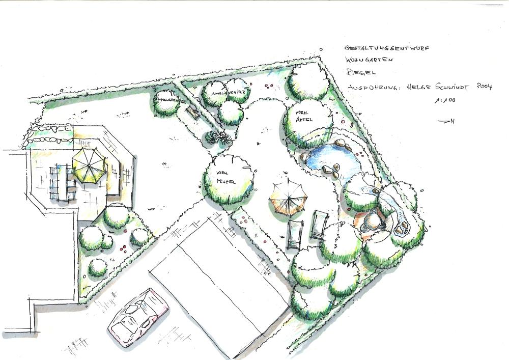 Gartenplanung: Rasen Terrasse Wohngarten mit Bachlauf und Gartenteich