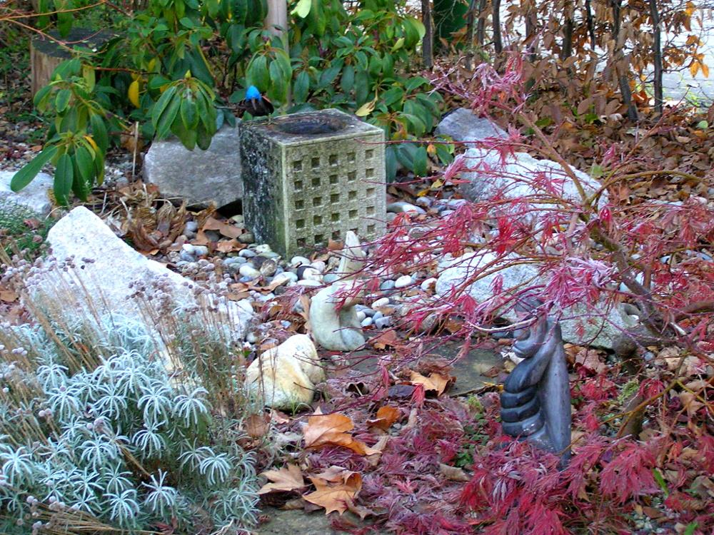 Gartengestaltung: Japan-Garten-Eckchen mit Granitbrunnen Ginkakuji Mizubachi, Japan-Ahorn, Rhododendron und Kieseln